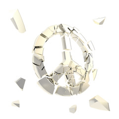 Peace symbol  broken into tiny chrome pieces isolated