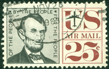 stamp showing the image of President Abraham Lincoln