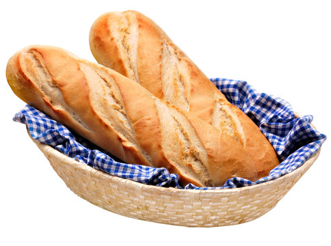 Bread French baguettes in basket