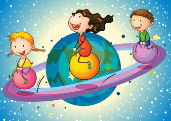 Deurstickers Kosmos kids on planet