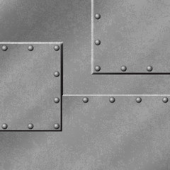 A Gray Metal Plate Background with Rivets