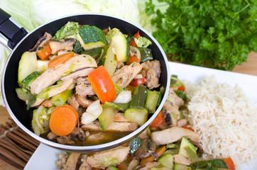 mediterane Hänchen-Gemüse-Pfanne mit Reis