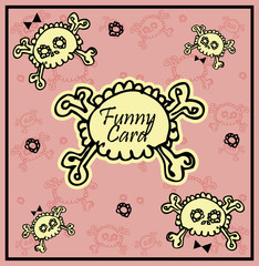 Very cute Skull with bow on background with place for copy/text