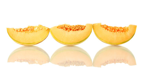 slices of melon isolated on white