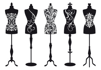fashion mannequins, vector set