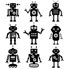 Canvas Prints Robots Robot silhouettes set