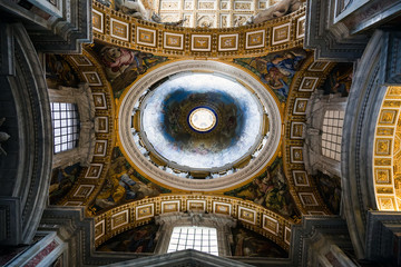 View at the ceiling and cupola of the St' Peter's Basilica