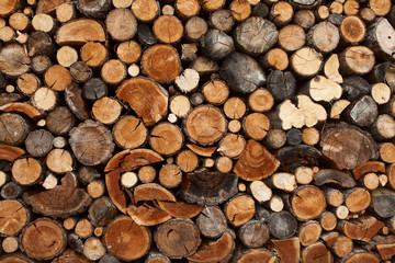 Photo sur Aluminium Texture de bois de chauffage Pile of chopped fire wood