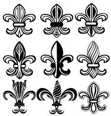 Fleur De Lis, New Orleans silhouettes vector