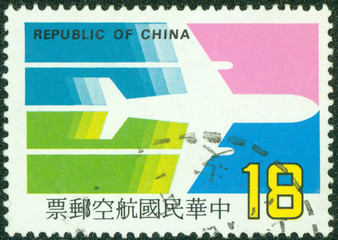 stamp printed in the Taiwan shows Airplane (China Airlines)