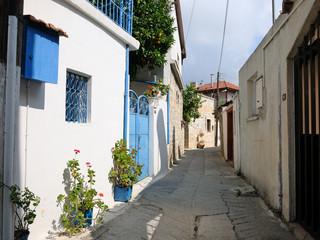Typical street in Omodos village, Cyprus