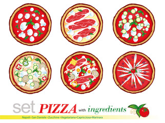 set pizza with ingredients