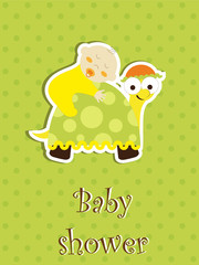 Baby shower card - baby sleep on a turtle