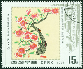 stamp printed in North Korea shows image of Plum Blossom