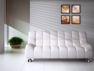White couch and a abstract painting