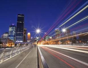 Australia, Brisbane city light trails