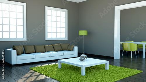 Wohndesign - Wohnzimmer braun grün\