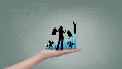 Hand show silhouettes of women shopping with blue graph