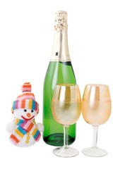 Champagne and snowman isolated