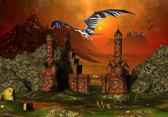 Photo sur Aluminium Dragons Fantasy Scene With A Castle And Dragons