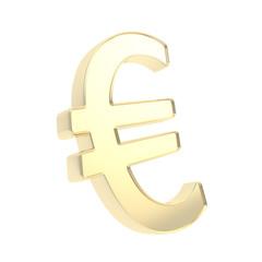 Shiny metal euro golden symbol emblem isolated