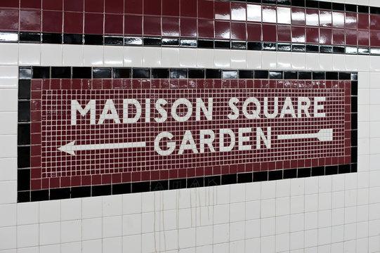 Madison Square Garden - New York city subway sign tile pattern