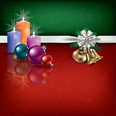 Christmas greeting with gift ribbon handbells and candles