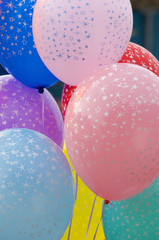 Colorful balloons on strings
