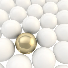 Shiny golden sphere surrounded with white spheres
