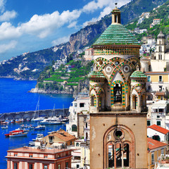 Poster Naples beautiful Amalfi, Italy. view with church