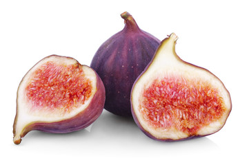Fresh fig fruits on white