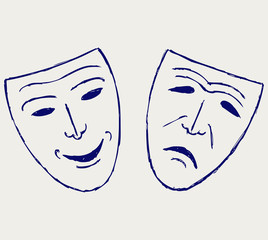 Classic comedy-tragedy theater masks