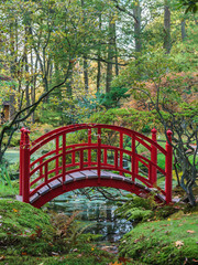 Red Japanese bridge in an autumn garden