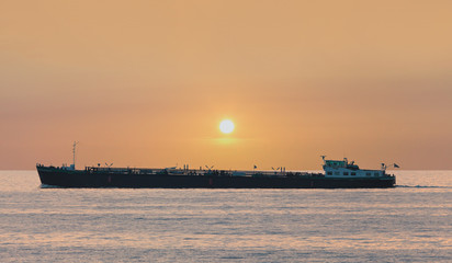 Freight ship passing The Markermeer lake in Holland