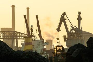 Transhipment of bulk goods at a harbor