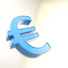 Blue euro symbol on chrome surface as background