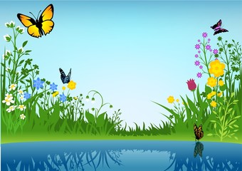 Autocollant pour porte Papillons Small Lake and Butterflies