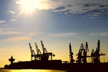 Silhouette of portal cranes in harbor