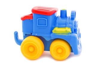 Toy a plastic nursery, a steam locomotive of bright shades.