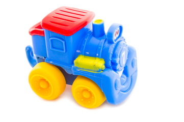 Toy a plastic nursery, a steam locomotive of bright shades.2