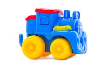 Toy a plastic nursery, a steam locomotive of bright shades.3