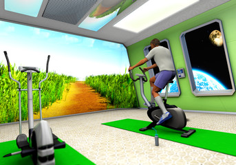 Astronaut on exercise bicycle