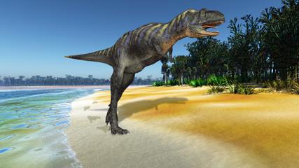 Scene of the ravenous big dinosaur