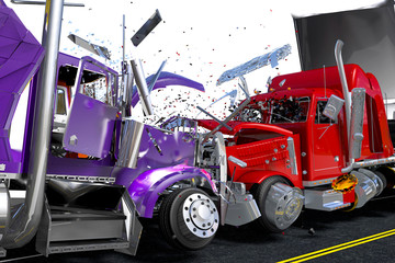 Scene to damages two lorries
