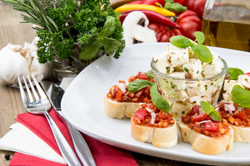 Plate with Feta Cheese and Bruschetta