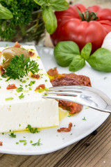 Antipasti (Feta Cheese) on a small plate
