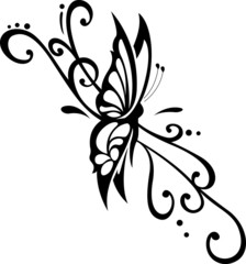 vector floral ornament with butterfly, element for design