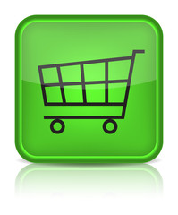 Green glossy web button with shopping cart sign