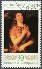 "BULGARIA - 1986: shows ""Penitent Magdalene"", Titian (1487-1576)"