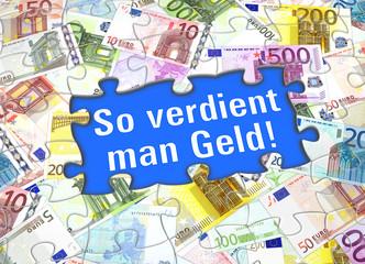 Fotobehang Wereldkaart So verdient man Geld!